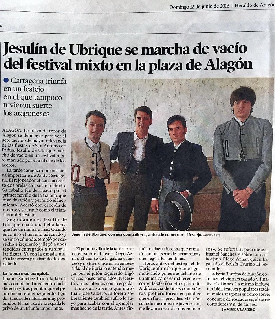 Festival Alagón; Crónica Heraldo de Aragon