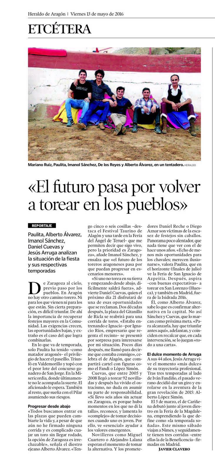 El futuro de nuestros toreros pasa por recuperar los pueblos
