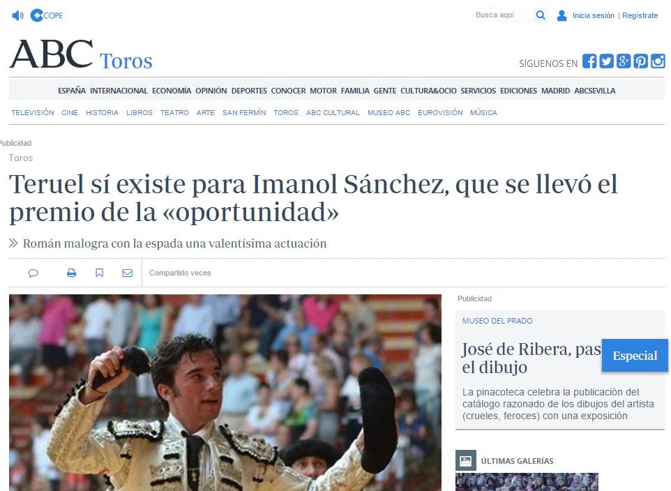 El torero aragonés Imanol Sánchez se llevó en la plaza de toros de Teruel el premio de la oportunidad