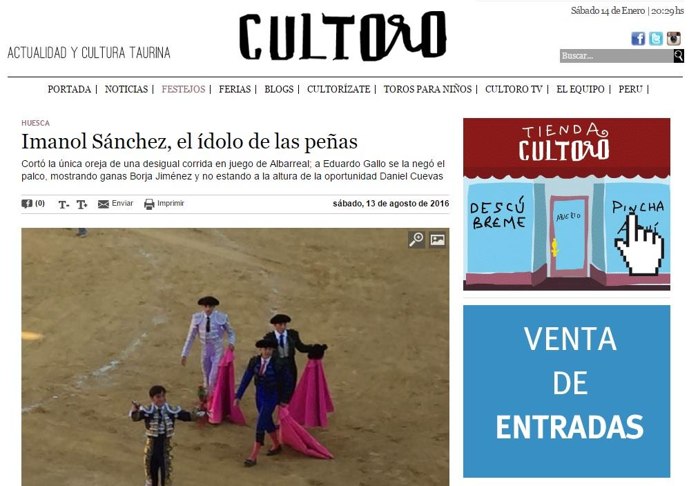 Imanol Sánchez, el ídolo de las peñas titular sobre el torero aragonés en los festejos de San Lorenzo de Huesca