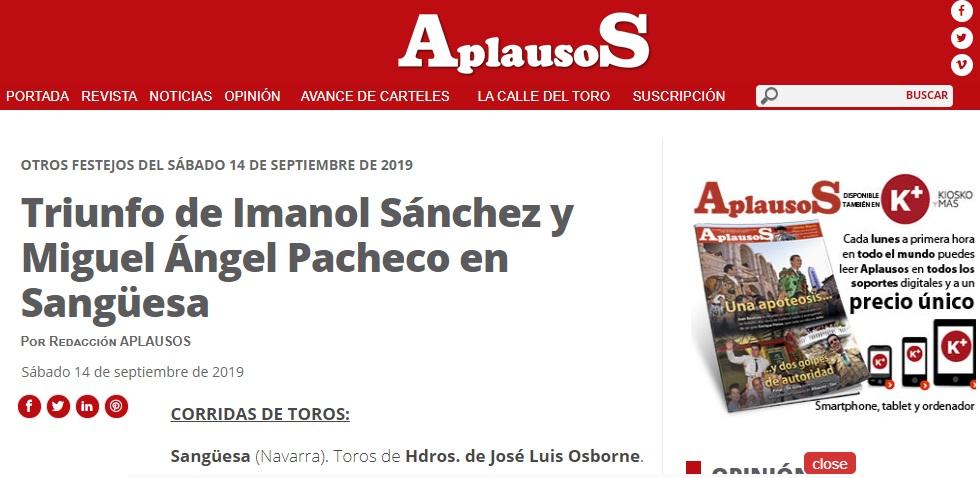 Titular actuacion Imanol Sánchez SanGüesa APLAUSOS