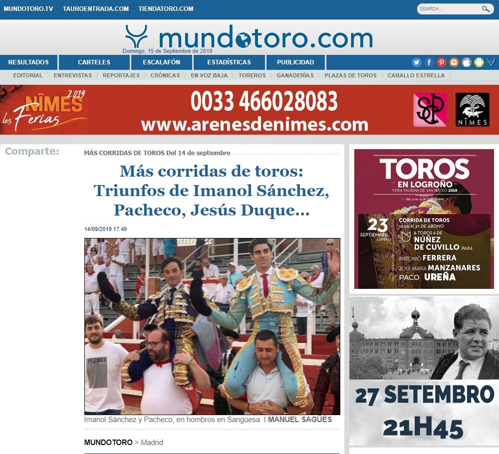 Titular actuacion Imanol Sánchez SanGüesa MUNDOTORO
