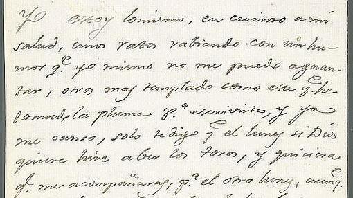 Extracto carta de Goya a Martín Zapater sobre los toros.