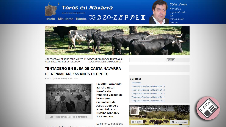 Titular Toros en Navarra Tentadero Histórico en Ripamilan