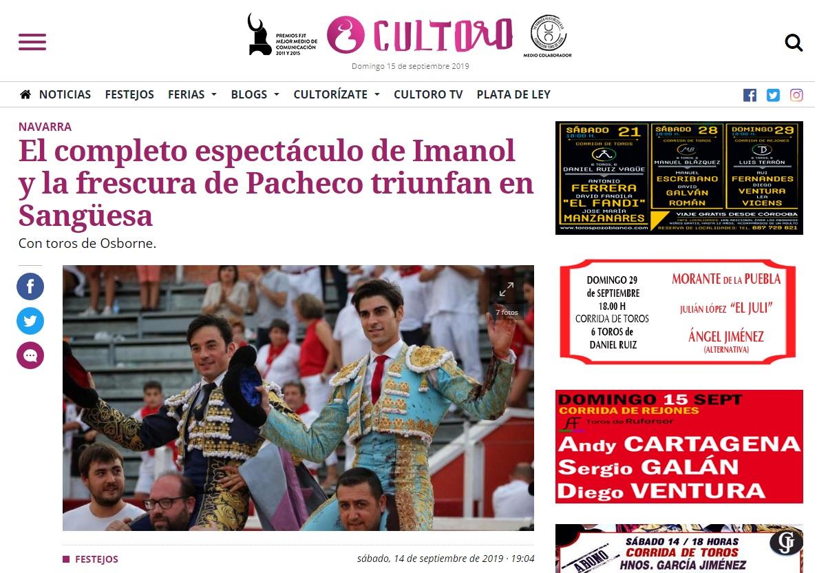 Titular actuacion Imanol Sánchez SanGüesa CULTORO