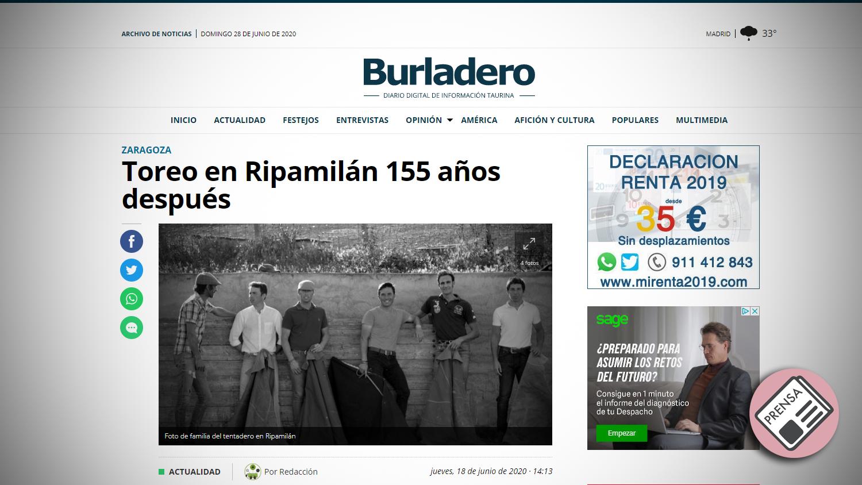 Titular Burladero Tentadero Histórico en Ripamilan