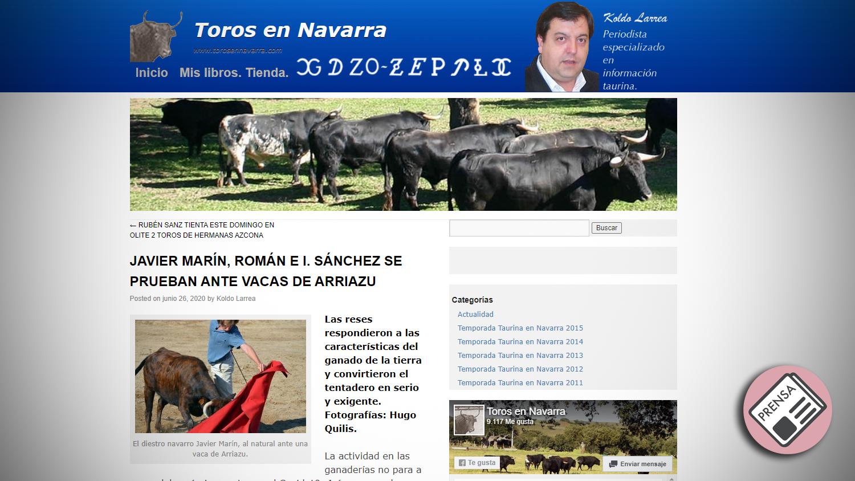 Titular Toros en Navarra Casta Navarra Arriazu