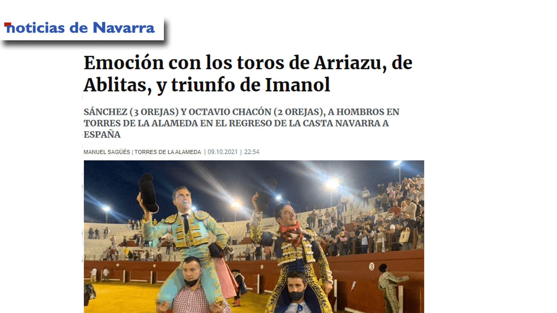 Imanol Sánchez Puerta Grande con Arriazu Portada Diario Noticias-min