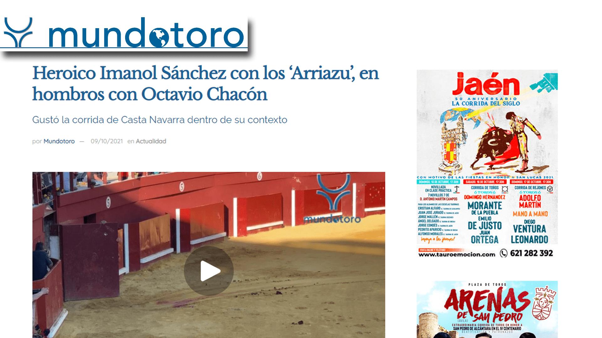 Imanol Sánchez Puerta Grande con Arriazu Portada Mundotoro-min
