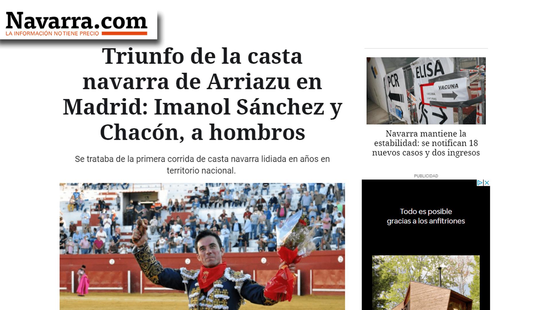 Imanol Sánchez Puerta Grande con Arriazu Portada Navarra com-min