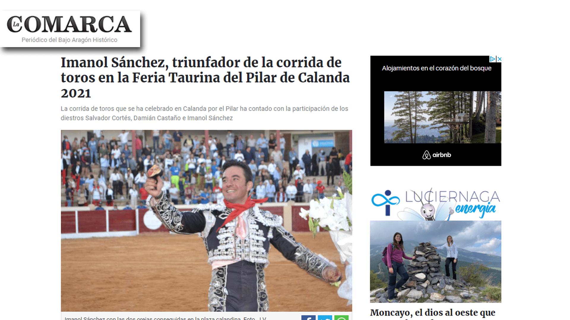 Imanol Sánchez triunfador feria taurina de Calanda 2021-min